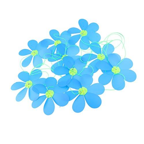 Sharplace Manches à Air Fleur Décoration Guirlande Roue Chaîne Whirligig Moulin à Vent Pelouse Décor - Bleu
