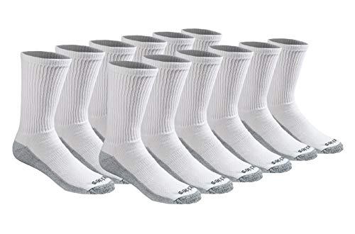 Dickies Men's Dri-tech Moisture Control Crew Socks Multipack, White (12 Pairs), Shoe Size: 6-12