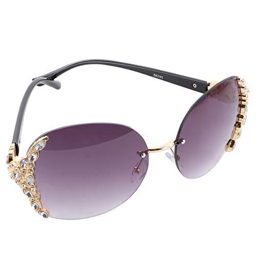 TENDYCOCO Occhiali da Sole da Donna in Cristallo Scintillante con Montatura UV Occhiali da Sole con Strass di Diamanti (Grigio Chiaro Dorato)