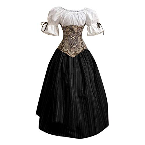 About1988 2019 Gotische Steampunk Kleidung Kleid, Halloween Damen Mittelalter Cosplay Kostüme Gothic Kleider, Kostüm Party Outwear Mantel Long Gothic Mantel Pulloverkleid (EU:34, Schwarz)