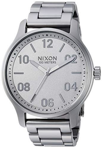 NIXON Patrol A1242 - Dark Steel - 100m Water Resistant Men's Analog Classic Watch (42mm Watch Face, 21mm-19mm Stainless Steel Band)