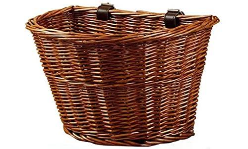 Dengbang Cesta para Bicicletas con Correas de Cuero marrón. Gran Capacidad. Cesta de Bicicleta extraíble en la Parte Delantera.-Brown