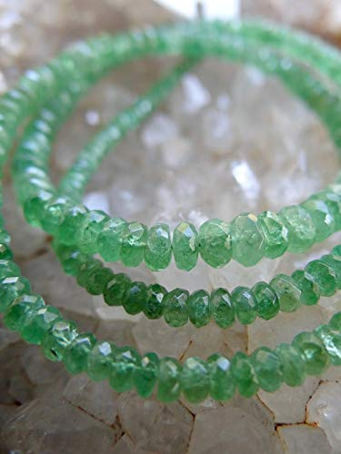 World Wide Gems Beads Gemstone Beautiful Emerald Green Tsavorite Garnet Faceted Rondelles | Faceted Rondelles | 2.5-4mm | Sold in Sets of 12 & Graduated Mini Strand Code-HIGH-32315