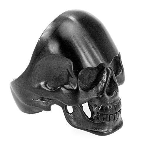 Piratenladen Anillo de Acero Inoxidable Sólido Negro Calavera, Motero, Calavera, High End - Negro,...