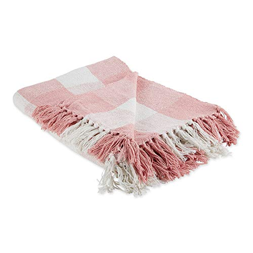"""DII CAMZ11470 Pink & White Buffalo Check Woven Throw, 50x60"""" with 3"""" Fringe,"""