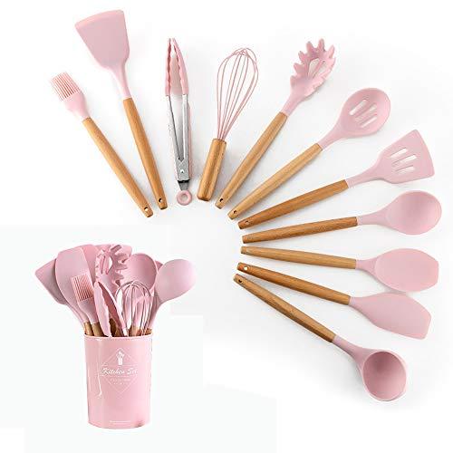 HENSHOW Küchenhelfer Set Silikon, 12-teilig Küchenutensilien Mit Utensilienhalter - Antihaft-Anti-Kratz-Kochgeschirr Küchenhelfer mit Holzgriff (Pinke Farbe)