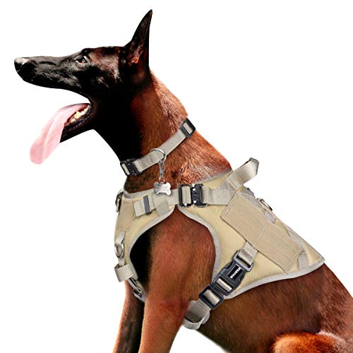 WINSEE Tactical Dog Harness and Collar Large, 3X Metal Buckles, Working Dog MOLLE Vest with Handle & Loop Panels, No Pull Adjustable Training Pet Harness with Leash Clips for Walking Hiking Hunting