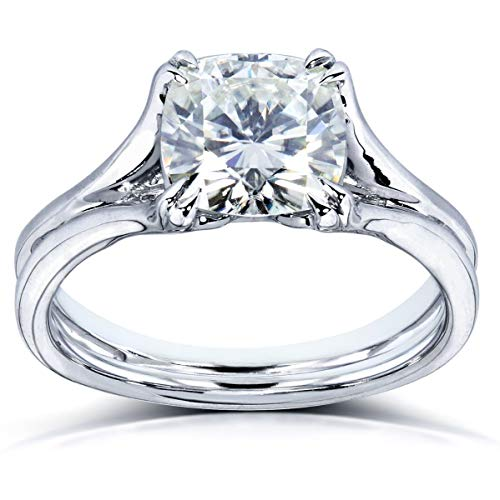 Kobelli Cushion-cut Moissanite Solitaire Split Shank Ring 2 CTW 14k White Gold, Size 10.5