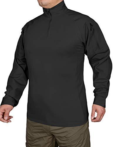 Hard Land Chemise à manches longues pour homme avec fermeture Éclair 1/4, noir, Medium