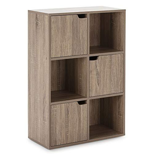 Estantería Martín Librería de almacenaje de Pared, Color Roble con 3 Huecos y 3 Puertas, 60 (Ancho) 29 (Profundo) 90 (Altura)