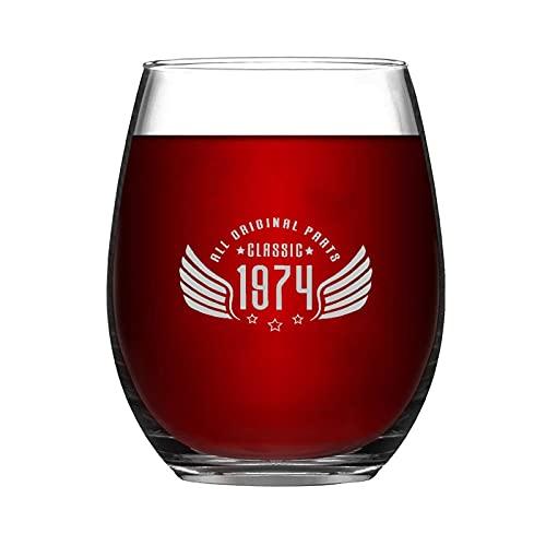 All Original Parts Classic 1974 - Vaso de vino sin tallo, diseño de copa de vino de noche con ideas para el día de la independencia, día del padre, amiga, mamá, marido, esposa, novia.