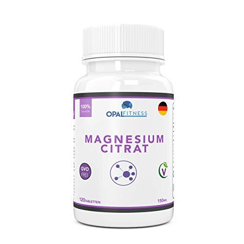 Magnesium Citrat Tabletten   150mg Formel mit hoher biologischer Verfügbarkeit   Ergänzungsmittel für gesunde Zähne, Knochen, Nervensystem und sportliche Leistung   120 Tabletten   OPAL Fitness