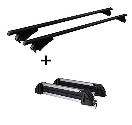 VDP dakdrager tijgerstaal XL + skidrager/snowboarddrager/skihouder aluminium 4 paar ski's compatibel met Dacia Lodgy vanaf 12