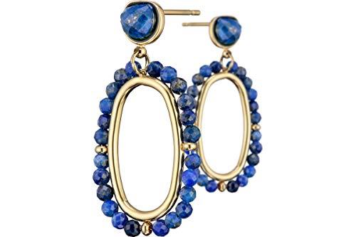 Ikita - Pendientes perforados Primavera, metalizados oro, lapislázuli