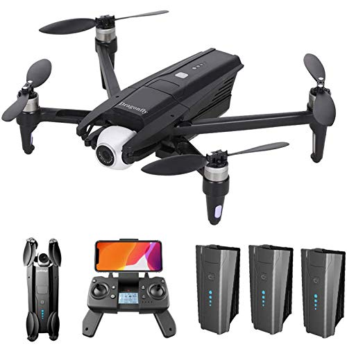 GPS Drone with 4K HD Camera for Adults, 5G WiFi FPV Drone with 2-Axis Gimbal, Brushless Motor, Foldable RC Quadcopter with GPS Return Home, Follow Me, Storage Bag,3 Batteries
