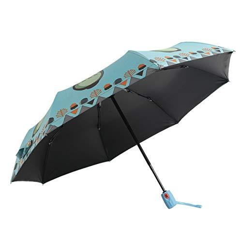 Cartoon Automatische Totoro Regenschirm Kinder Regenschirm Sonnenschutz Schwarz Kunststoff Regenschirm Kreative Faltschirm Totoro Himmelblau