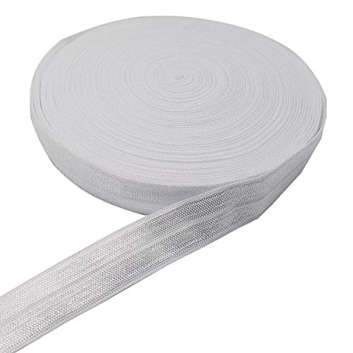 10 Yards Fold Over Elastic Stretch, Braided Elastic Ribbon for Hair Ties Headbands, Available in Various of Colours (White, 5/8in)