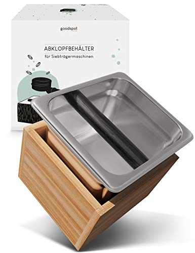 goodspot® Abklopfbehälter für Siebträger - aus Echtholz und Edelstahl - robust, standfest - Abschlagbehälter Holz - natürliches Design - Knock Box mit gedämpfter Silikonstange
