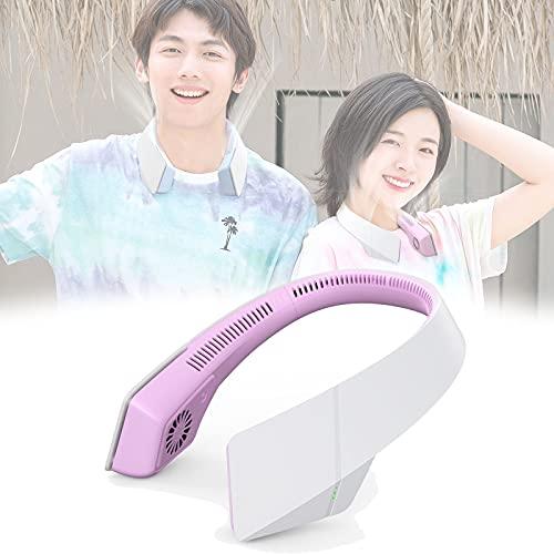 Ventilador de cuello portátil, manos libres, ventilador de cuello sin cuchillas, 2400 mAh, funciona con pilas, mini ventilador portátil, recargable USB, bajo ruido, 3 velocidades, ligero