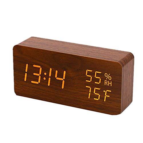 othulp funkwecker mit Batterie projektionswecker Funk Schlafzimmer Uhr Projektionsuhr Bad Uhr Kinderwecker Digitaluhren Digitalwecker am Bett Tischuhr Brown