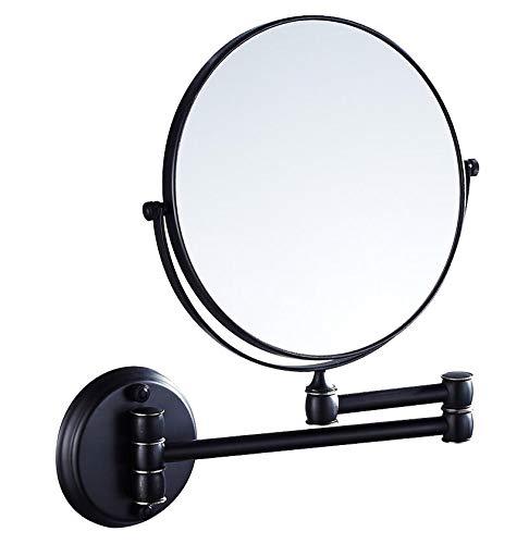 Bath Miroirs de Maquillage muraux Beauty Mirrors - Miroirs de Rasage rabattables pour Hommes, Finition chromée,Black_8inch