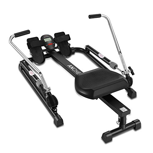 ANCHEER Hydraulic Rowing, Rowing Machine with 12 Levels of Resistance,HD-LCD, Home Aerobic Exercise Trainer with All-Round Adjustable Knobs, Comfortable Cushion, Suitable for Home/Office/Gym