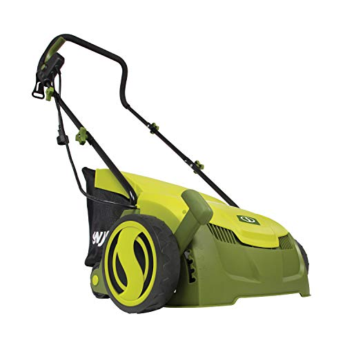 Sun Joe AJ801E 13 in. 12 Amp Electric Scarifier + Lawn Dethatcher w/Collection Bag, Green