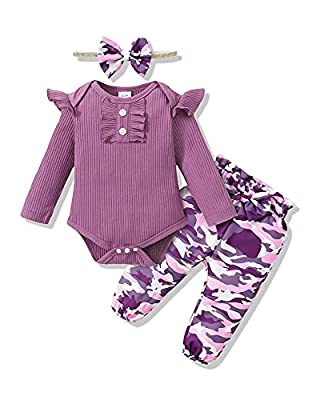 Newborn Baby Girl Clothes Outfits Romper Pants Set Cotton Baby Girl Stuff Camo Newborn Baby Clothes Girl Gifts Set Purple Baby Clothes Girl 0-3 Months by