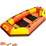 YUESFZ Kayak gonfiabili Canoe Rigide Kayak da Competizione, Barca da Pesca per Il Tempo Libero All'aperto per 5/6 Persone, Tavola da Surf per L'avventura in Mare (Color : Orange, Size : 4-5people)
