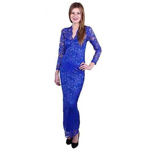 John Zack V-hals, Maxi, Kanten jurk met bloemenmotief, Kobalt Blauw
