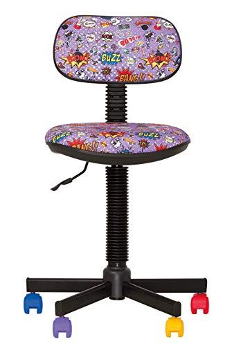 BAMBO- Chaise DE Bureau Enfant Ergonomique, Hauteur du SIÈGE 42 cm-56 cm. Hauteur Dossier RÉGLABLE/PIVOTANT A 360°/ roulettes Multicolores/Noir. Prix Discount. (Comics Violet)