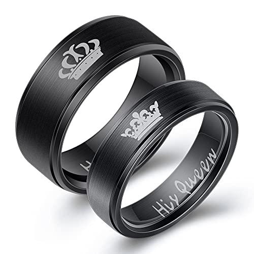 JIUXIAO Anillo de Diamante de Laboratorio de Pareja Negra de Acero Inoxidable para Hombres, Mujeres, Compromiso, joyería de Boda, Regalo