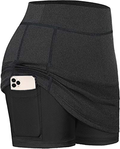 BLEVONH Skorts for Women,Elastic Waistand Sports Athletic Skirts Ladies Oversized Running Tennis Skirt with Biker Shorts Womens Quick Dry Running Workout Golf Skort Carbon Black 2XL
