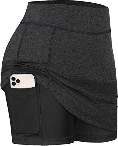 BLEVONH - Faldas de tenis para mujer, pantalones cortos interiores elásticos para deportes de golf con bolsillos -  Negro -  Large
