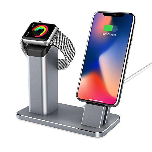 yootech Apple Reloj de pulsera soporte aluminio Apple Watch iPhone X/8/8plus/7/7Plus/6/6Plus Dock, [2en 1estación de carga] Apple Watch ladeständer, estación de carga para Apple Watch Serie 3/2/1de gris