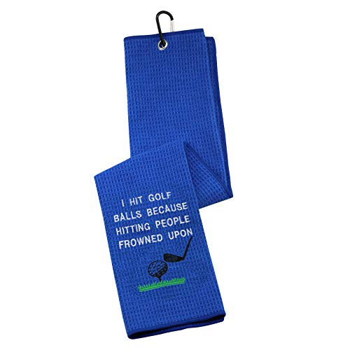 Funny Golf Towel Embroidered Golf Towel Gift I Hit Golf Balls Because Hitting People is Frowned Upon Golf Towel with Clip (I Hit Golf Balls Because)