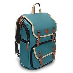 GOgroove Kamera Rucksack für Spiegelreflexkameras: DSLR Backpack ideal für Reisen, ausreichend Platz für Kamera & Zubehör, sowie Laptop und Stativhalter & wetterfestem Regenschutz, Türkis
