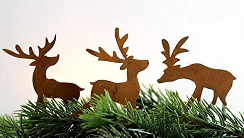 LB H&F 3er Set Adventskranz Deko Roststecker Advent Rost Metall Weihnachten ADVENTSKRANZSTECKER Hirsch klein zum selber dekorieren - (Stecker - Rost)