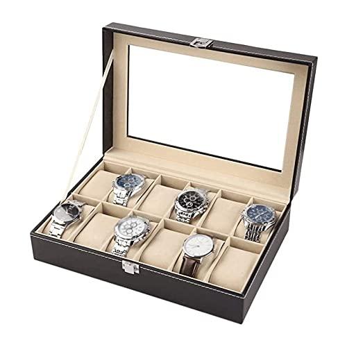 SSHA Joyero Caja de Reloj de Cuero Mostrar Caja Organizador Reloj Caja de Vidrio Joyería Almacenamiento Negro Organizador de Joyas (Size : 12 Digits)