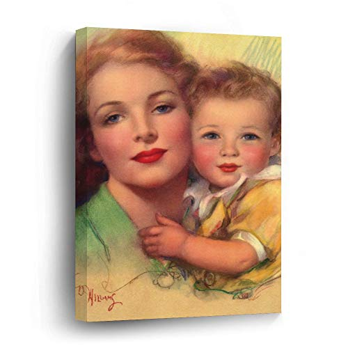 Vintage Mother and Child Family Portrait Canvas Picture Painting Artwork Wall Art Poto Framed Canvas Prints for Bedroom Living Room Home Decoration, Ready to Hanging 16'x24'