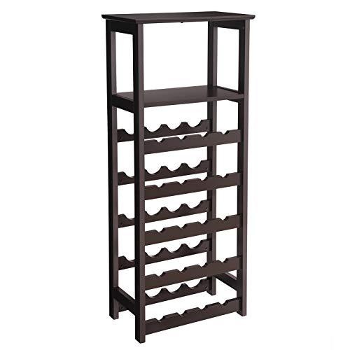 VASAGLE 20 Wooden Wine Rack, Free Standing Bottles Display Storage Shelf, with 2 Slatted Shelves,18.4 × 10.4 × 42.9 Inches, Espresso ULWR03BR