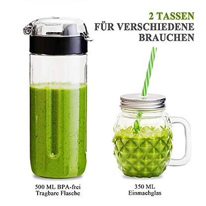 Aeitto-Smoothie-Maker-Mini-Mixer-Blender-Multifunktion-Mini-Standmixer-Shaker-mit-500ml-BPA-frei-Tritan-Reise-Sport-Flaschen-350ml-ananasfrmigen-Mason-Jar-300W-23000UMax
