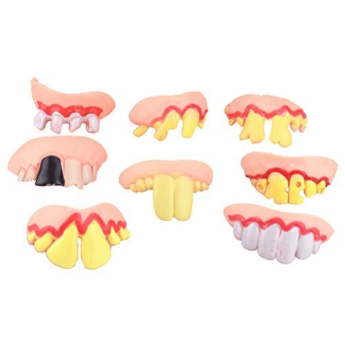 Garneck Halloween Urlaub Dekoration Requisiten Silikonprothese Modell Vampir Große Zähne Kniffliges Spielzeug (8 Stück)