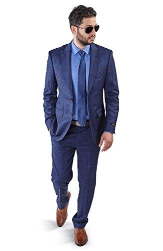 Slim Fit Suit 2 Button Peak Lapel Windowpane Checkered Flat Front Pants 1698 (34 Regular 28 Waist 32 Length, Blue NO Vest)