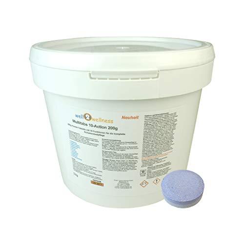 well2wellness Chlortabletten Pool Chlor Multitabs 10-Action 200g mit 10 Funktionen 3,0 kg