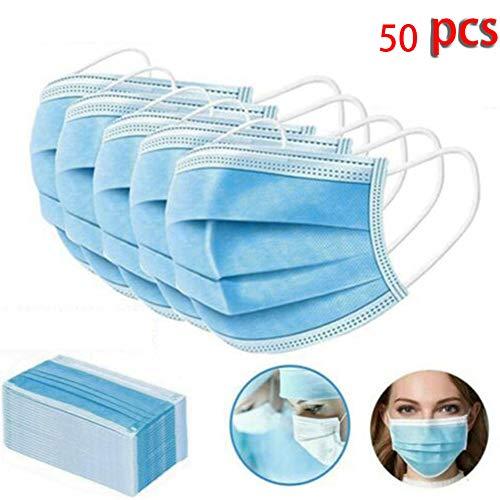 JJIIEE Cubiertas Protectoras para la Cara, Impermeables, fáciles de Usar, Transpirables, Protectoras para la Salud, no Tejidas de 3 Niveles para Adultos, niños y Ancianos (50 Piezas)