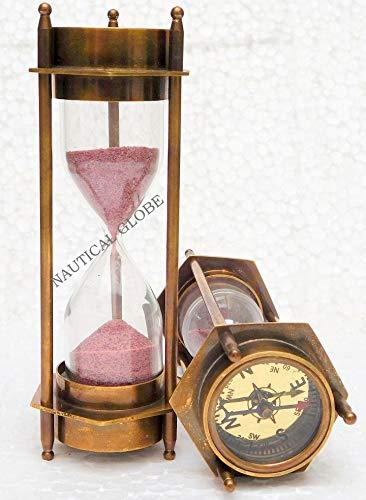 "KHUMYAYAD 6"" Hand made solid brass decorative sand timer 3 min hour glass"