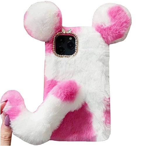 TAITOU - Funda para Samsung Galaxy M40/A60, hecha a mano, suave lana esponjosa, diseño de cola de vaca con orejas de ratón, color rosa