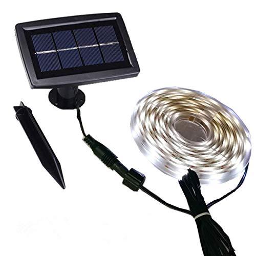 HVTKL Solarlichtstrip voor buiten, waterdicht, automatisch aan/uit, 2 modi, flexibel en snijdbaar, zelfklevend, 5 m 150 leds, lichtstrip, raam, trap, dak, terras, looppad, hek, decoratie, warm