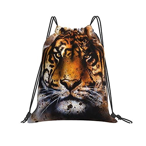Bolsa clásica con cordón de tigre Collage Gym Sack Bag Mochila de poliéster para hombres y mujeres